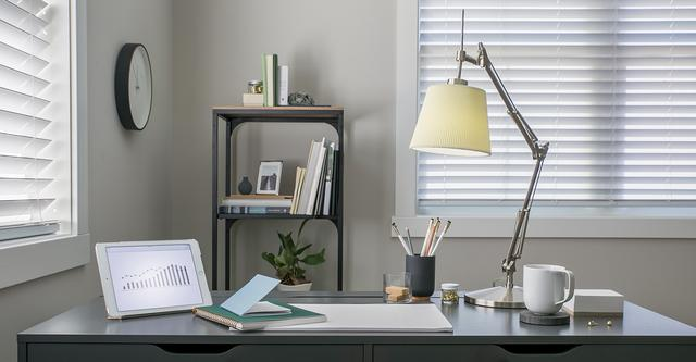 Desk with Lamp showing GE Reveal Light