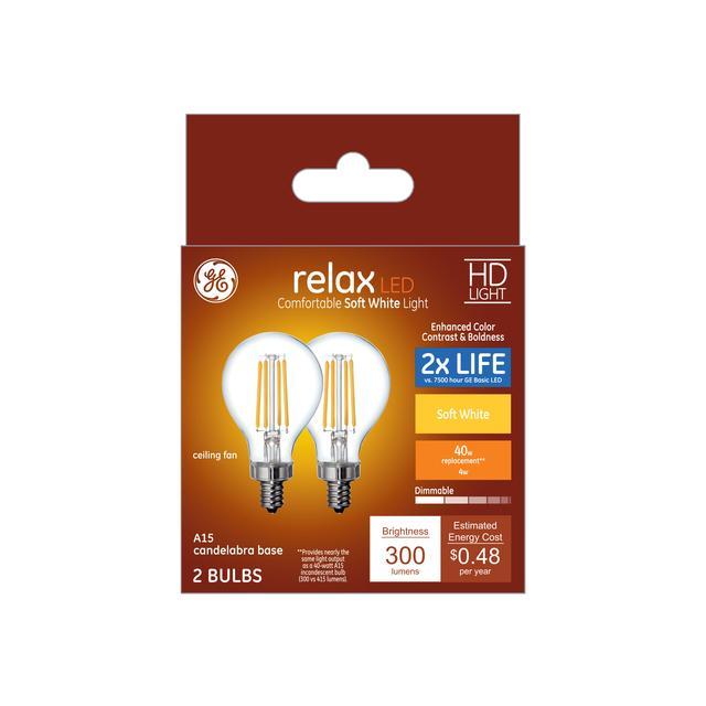 Paquet avant de Relax HD Soft White 40 W Remplacement ampoules LED Ampoules Clear Ceiling Fan Candelabra Base A15