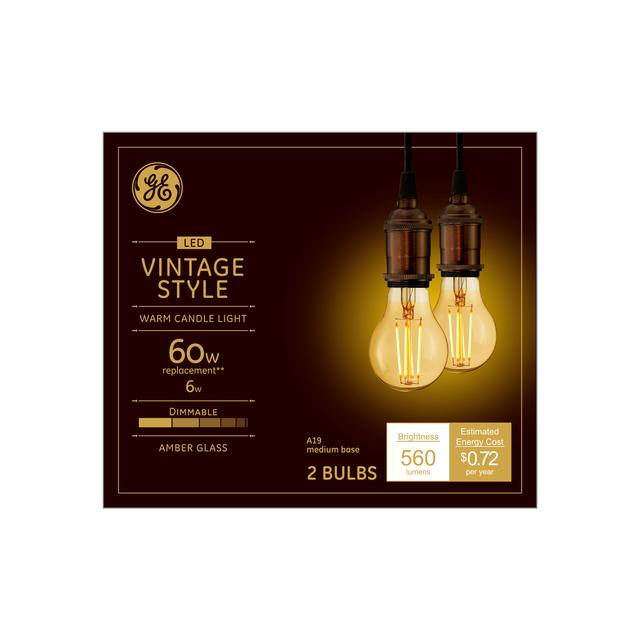 Front package of Vintage 60W Replacement LED Amber Finish Decorative Straight Filament General Purpose Medium Base A19 Light Bulbs (2-Pack)