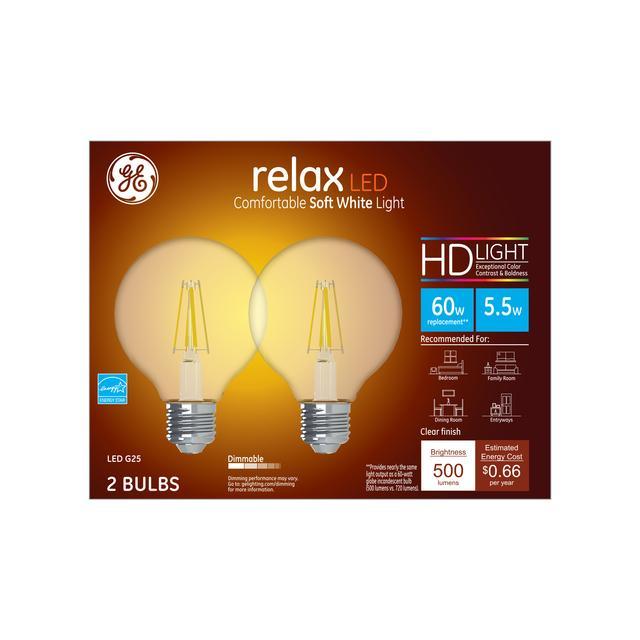 Paquet avant de GE Relax HD Soft White 60W Ampoules LED de remplacement Décoratif Clear Globe Medium Base G25 (2-Pack)