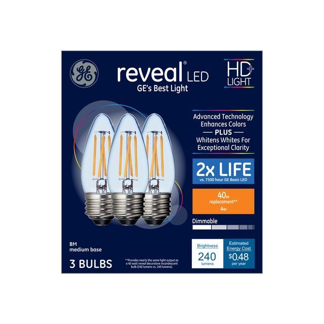 Emballage avant de GE Reveal HD+ Color-Enhancing 40 W Remplacement LED Décoratif Clear Blunt Tip Base Moyenne BM Bulb