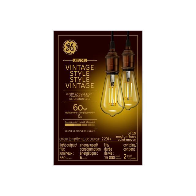 Emballage avant de GE Vintage Warm Candlelight 60 W Remplacement LED Amber Finish Filament droit Décoratif ST19 Ampoule lumineuse (1-Pack)