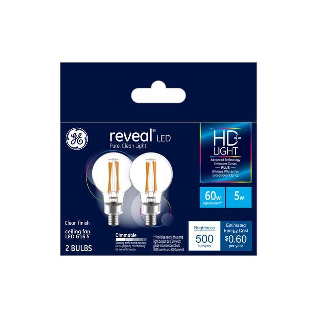 Paquet avant de GE Reveal HD+ Color-Enhancing 60 W Remplacement LED Décoratif Clear Globe Candélabre Base G16 Bulb