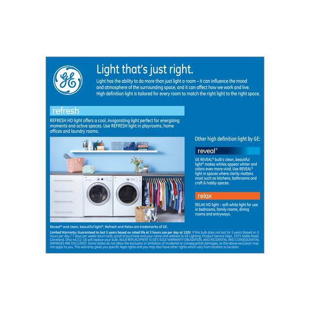 Paquet arrière de GE Refresh HD Daylight 65W Projecteur intérieur LED de remplacement BR30 Ampoules de lumière (2-Pack)