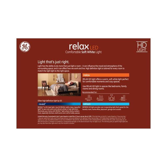 Paquet de dos de GE Relax HD Soft White 60W Remplacement ampoules LED à usage général A19