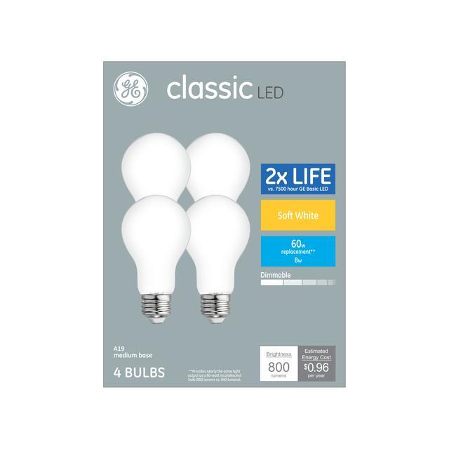 Paquet avant de classic Soft White 60 W remplacement LED givré à usage général A19 Ampoules de lumière (4-Pack)