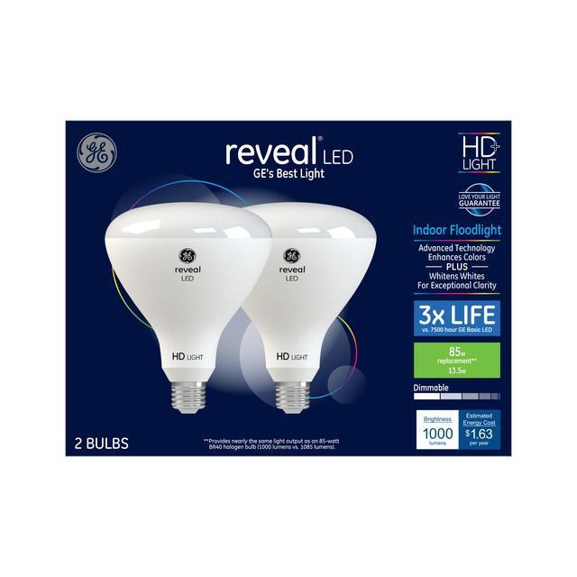 Paquet avant de GE Reveal HD+ Color-Enhancing 85 W Remplacement LED Projecteur intérieur BR40 Ampoules de lumière (2-Pack)