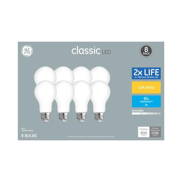 Emballage avant d'ampoules LED de remplacement GE Soft White 60 W Usage général A19