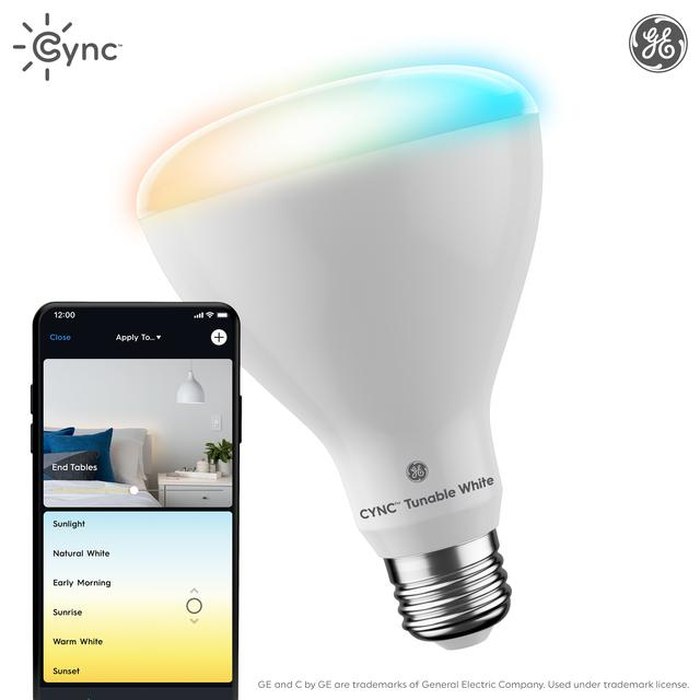 Emballage avant de GE C by GE 65-Watt EQ LED Br30 Tunable White Smart Spotlight Ampoule (L'emballage peut varier)