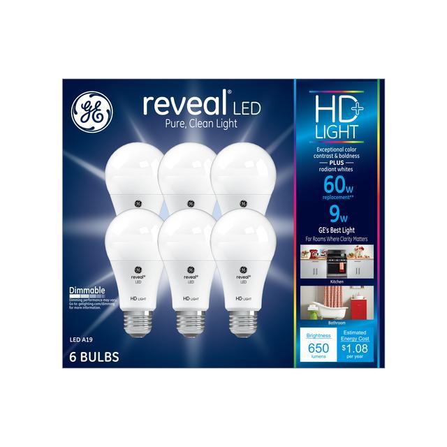 Emballage avant d'ampoules à usage général 60 A19 à usage général GE Reveal HD+ améliorant la couleur (6-Pack)