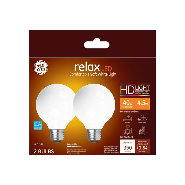 Paquet avant de GE Relax HD Soft White 40W Ampoules LED de remplacement Globe décoratif Blanc Medium Base G25 (2-Pack)