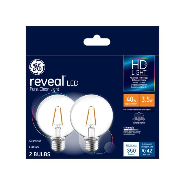 Reveal Hd Color Enhancing 40w Replacement Led Light Bulbs 2 Pack Clear Decorative Globe Dimmable Led Light Bulbs Medium Base G25
