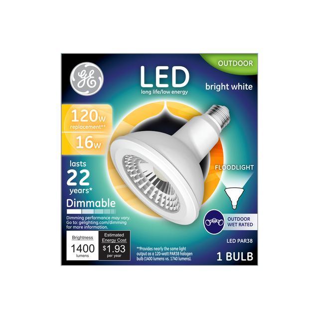 Emballage avant de GE Warm White 120 W Remplacement LED Ampoule porte PAR38