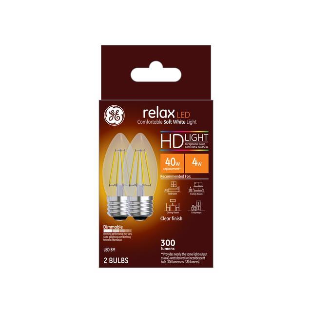 Paquet avant de GE Relax HD Soft White 40W Ampoules LED de remplacement Décoratif Clear Blunt Tip Medium Base BM (2-Pack)