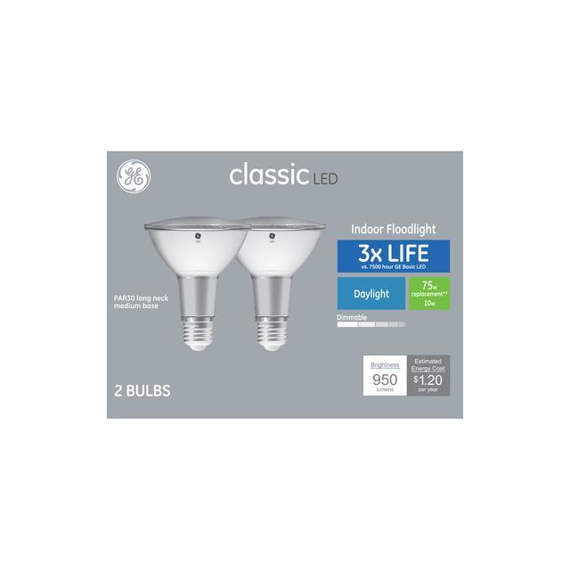 Paquet avant de GE Classic Daylight 75 W Remplacement LED Floodlight Indoor Floodlight Long Neck PAR30 Ampoules de lumière (2-Pack)