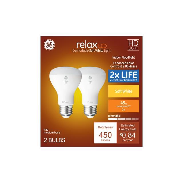 Paquet avant de Relax HD Soft White 45 W Remplacement LED Indoor Floodlight R20 Light Bulbs (2-pack)