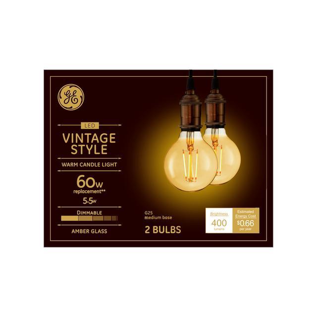 Ensemble avant de vintage chaud candlelight 60 W remplacement LED Amber Finish Straight Filament Decorative Medium Base G25 Light Bulbs (2-Pack)