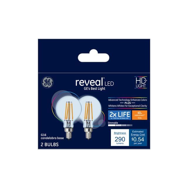 Paquet avant de GE Reveal HD+ Color-Enhancing 40 W Remplacement LED Décoratif Clear Globe Candélabre Base G16.5 Bulb