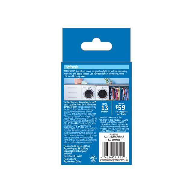 Paquet arrière de GE Refresh HD Daylight 40W Ampoules LED de remplacement Décoratif Clear Blunt Tip Candelabra Base BC (2-Pack)