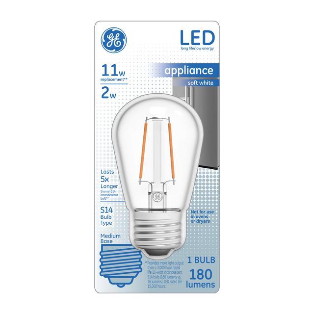 Ensemble avant de GE Soft White 11 W Replacement LED Medium Base Appliance S14 Light Bulb