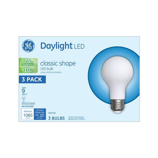Emballage avant de GE Daylight LED 75 W Remplacement givré à usage général intérieur A21 Ampoules de lumière (3-Pack)