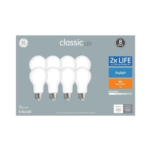 Paquet avant de Classic Daylight 40 W Remplacement ampoules LED à usage général A19 (8-Pack)