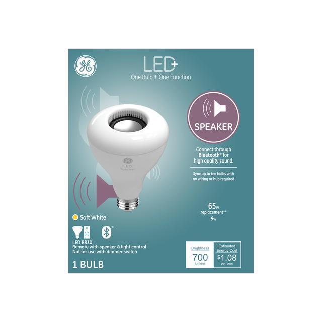 Ensemble avant de GE LED+ Haut-parleur Soft White 60 W Remplacement LED Indoor Floodlight BR30 Light Bulb (1-Pack)
