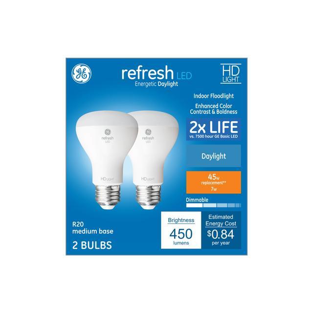 Paquet avant de Refresh HD Daylight 45 W Remplacement ampoules LED Éclairage d'inondation intérieur R20 (2-Pack)
