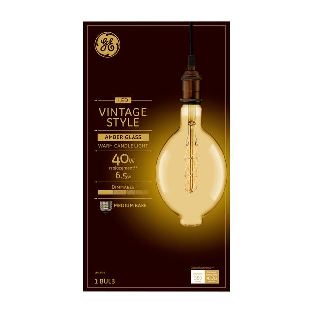 Emballage avant de GE Vintage Warm Candlelight 40 W Remplacement LED Amber Finish Spiral Weave Filament Décoratif BT56 Ampoule lumineuse (1-Pack)