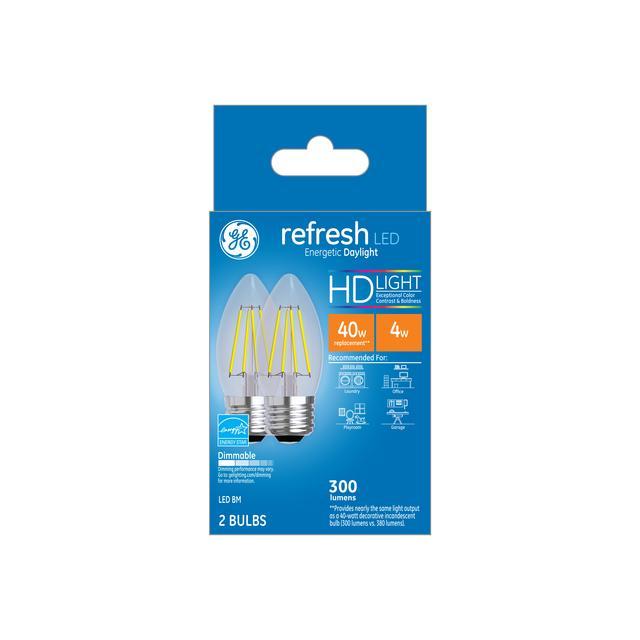 Paquet avant de GE Refresh HD Daylight 40W Remplacement ampoules LED Décoratif Clair Blunt Tip Base moyenne BM (2-Pack)