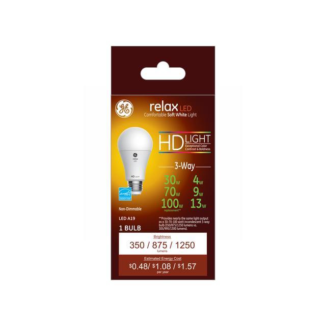 Paquet avant de GE Relax HD Soft White 30/70 / 100 W Remplacement LED Intérieur Usage Général A19 Ampoule de lumière