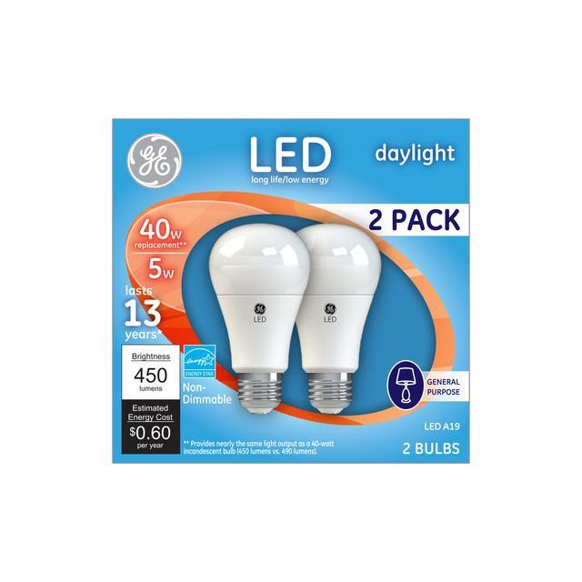 Emballage avant d'ampoules à led 40 W à usage général à usage général A19 à usage général ge Daylight (2-Pack)