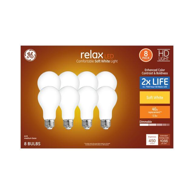 Paquet avant de Relax HD Soft White 40 W Remplacement LED givré à usage général A19 Ampoules de lumière (8-Pack)