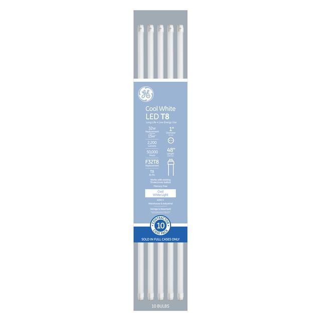 Front package of Cool White 32W Replacement LED 48in Medium Bi-Pin T8 Linear Tubes (10-Pack)