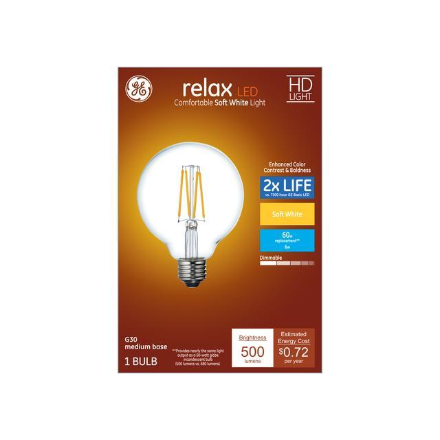 Paquet avant de GE Relax HD Soft White 60 W AMPOULES LED Décorative Clear Globe Base Moyenne G30 (1-Pack)