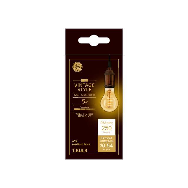 Emballage avant de GE Vintage Warm Candlelight 60 W Remplacement LED Amber Finish Spiral Filament Décoratif Base Moyenne Décorative A19 Ampoule de lumière (1-Pack)