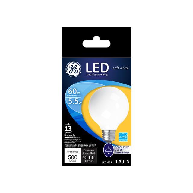 Emballage avant de GE Soft White LED 60 W Remplacement Globe décoratif givré G25 Ampoule de lumière (1-Pack)