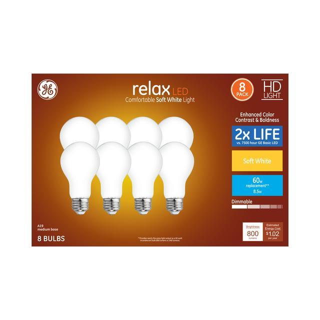 Paquet avant de GE Relax HD Soft White 60 W Remplacement ampoules LED à usage général A19