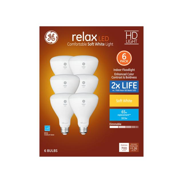 Ensemble avant de GE Relax HD Soft White 65 W Remplacement LED Indoor Floodlight BR30 (6-Pack)