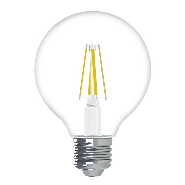Image du produit de GE Relax HD Soft White 40W Remplacement ampoules LED Ampoules décoratives Clear Globe Base moyenne G25 (2-Pack)