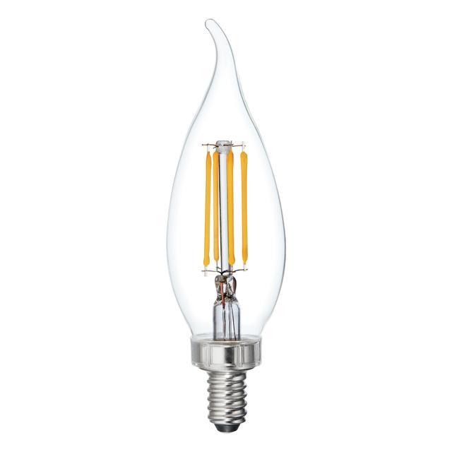 Image produit de Relax HD Soft White 60W Remplacement LED Clear Décoratif Bent Tip Candelabra Base CAC Ampoules de lumière (3-Pack)