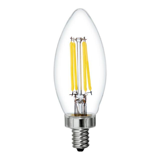 Image de produit de GE Refresh HD Daylight 60W Remplacement LED Clear Decorative Blunt Tip Candelabra Base BC Light Bulbs (3-Pack)