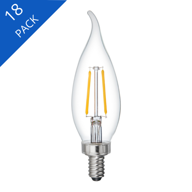 Image du produit de GE Relax HD Soft White 25W Remplacement LED Clear Decorative Bent Tip Candelabra Base CAC Light Bulbs (3-Pack)
