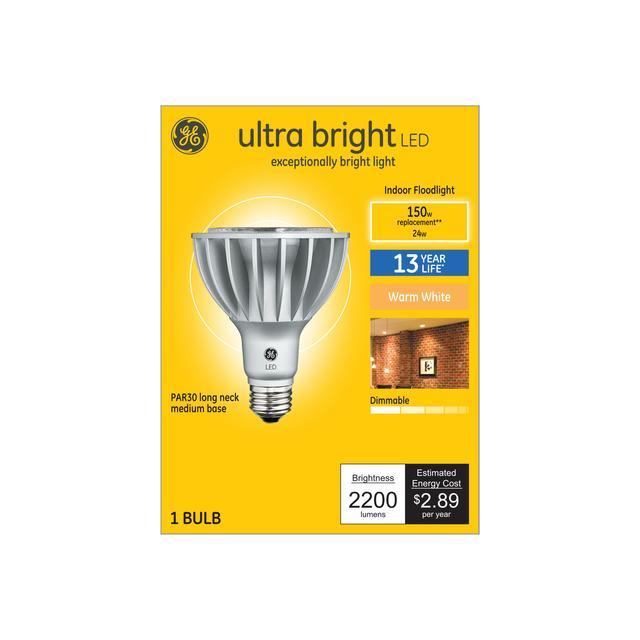 Paquet avant de GE Ultra Bright Warm White 150 W Remplacement Long Neck Indoor Floodlight PAR30L Ampoule de lumière (1-Pack)