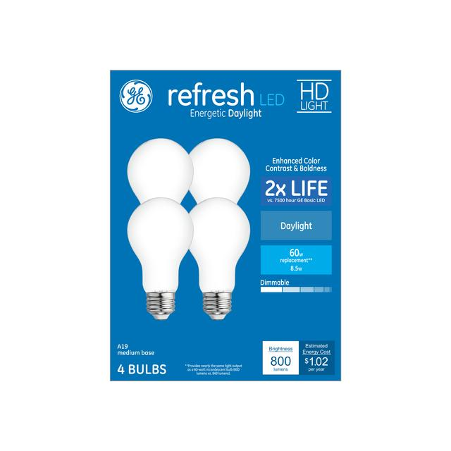 Ensemble avant de Refresh HD Daylight 60 W Remplacement LED Indoor General Purpose A19 Light Bulbs (4-Pack)