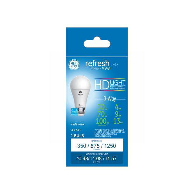 Paquet avant de GE Refresh HD Daylight 30/70/100W LED de remplacement 3 voies Intérieur à usage général A19 Ampoule (1-Pack)