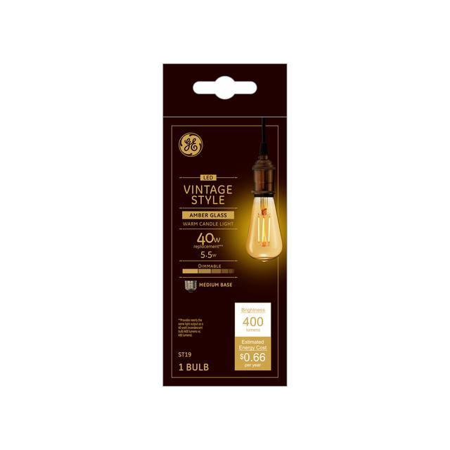 Paquet avant de GE Vintage 40 W Remplacement ampoules LED Amber Edison Style ST19 Medium Base (1-Pack)