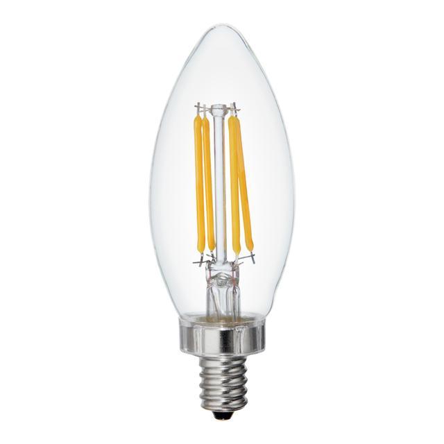 Image produit de Relax HD Soft White 60W Remplacement LED Clear Decorative Blunt Tip Candelabra Base BC Ampoules lumineuses (6-Pack)