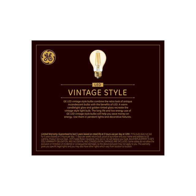 Back package of Vintage 60W Replacement LED Amber Finish Decorative Straight Filament General Purpose Medium Base A19 Light Bulbs (2-Pack)