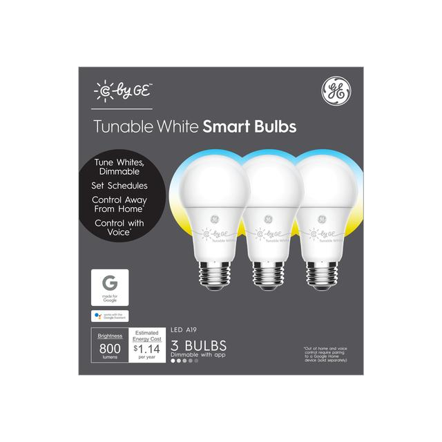 Front package of C by GE Tunable White A19 Smart LED Bulbs (3-Pack)